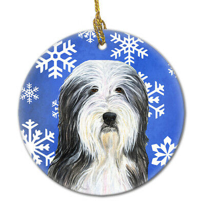 Bearded Collie Winter Snowflakes Holiday Christmas Ceramic Ornament SS4635