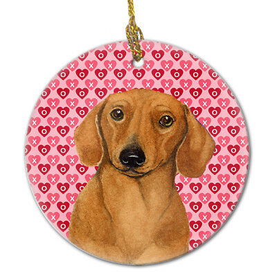 Carolines Treasures  LH9132CO1 Dachshund Valentine's Love and Hearts Ceramic Orn
