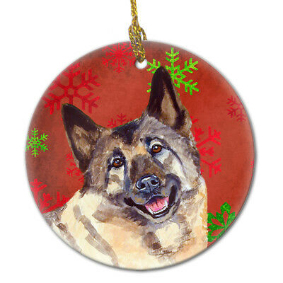 Norwegian Elkhound Red Snowflake Holiday Christmas Ceramic Ornament LH9353