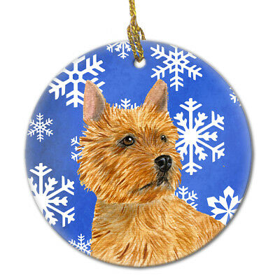 Norwich Terrier Winter Snowflakes Holiday Christmas Ceramic Ornament SS4637