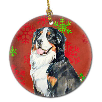 Bernese Mountain Dog Red Snowflake Holiday Christmas Ceramic Ornament LH9334