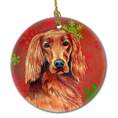 Irish Setter Red Snowflake Holiday Christmas Ceramic Ornament LH9344