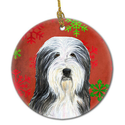 Bearded Collie Red Snowflakes Holiday Christmas Ceramic Ornament SS4704