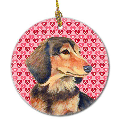 Carolines Treasures  LH9166CO1 Dachshund Valentine's Love and Hearts Ceramic Orn