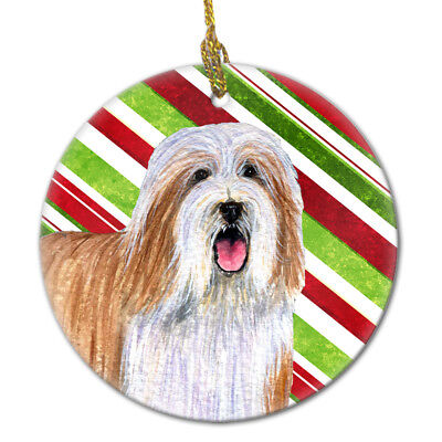 Bearded Collie Candy Cane Holiday Christmas Ceramic Ornament LH9240