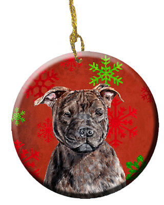 Staffordshire Bull Terrier Staffie Red Snowflakes Holiday Ceramic Ornament