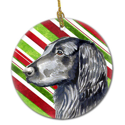 Flat Coated Retriever Candy Cane Holiday Christmas Ceramic Ornament LH9231