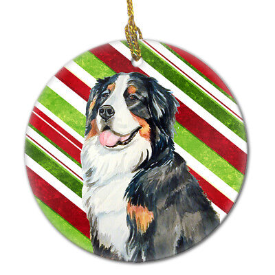 Bernese Mountain Dog Candy Cane Holiday Christmas Ceramic Ornament LH9244