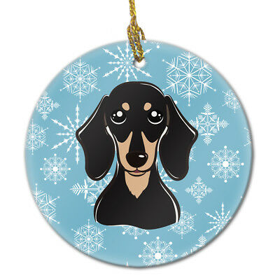 Snowflake Smooth Black and Tan Dachshund Ceramic Ornament