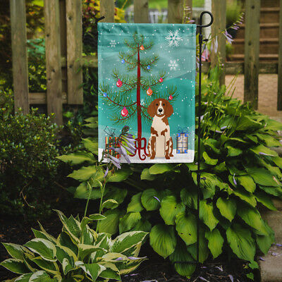 Merry Christmas Tree Brittany Spaniel Flag Garden Size