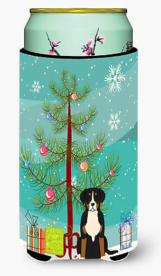 Merry Christmas Tree Greater Swiss Mountain Dog Tall Boy Beverage Insulator Hugg