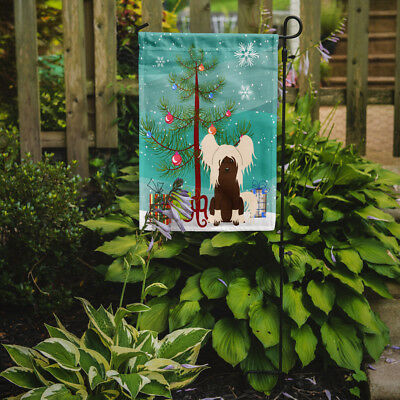 Merry Christmas Tree Chinese Crested Cream Flag Garden Size