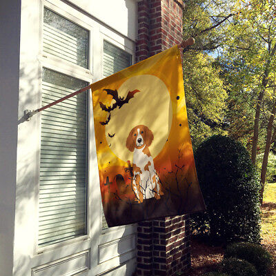 Carolines Treasures  BB4338CHF Halloween Brittany Spaniel Flag Canvas House Size