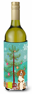 Merry Christmas Tree Brittany Spaniel Wine Bottle Beverge Insulator Hugger