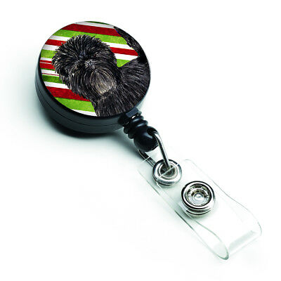 Affenpinscher Candy Cane Holiday Christmas Retractable Badge Reel