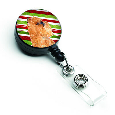 Brussels Griffon Candy Cane Holiday Christmas Retractable Badge Reel
