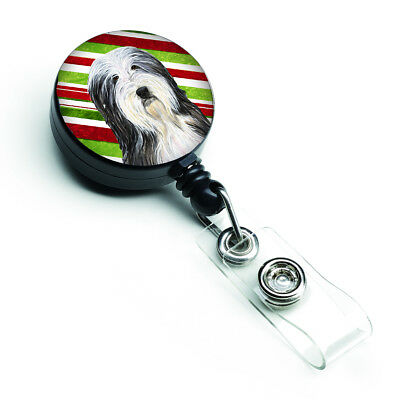 Bearded Collie Candy Cane Holiday Christmas Retractable Badge Reel