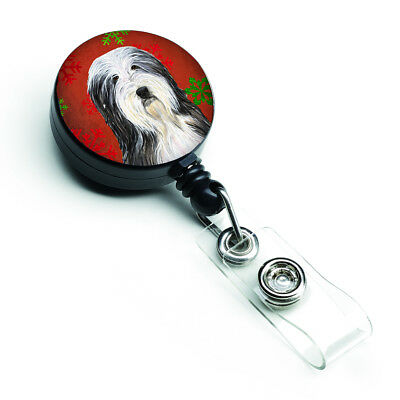 Bearded Collie Red and Green Snowflakes Holiday Christmas Retractable Badge Reel