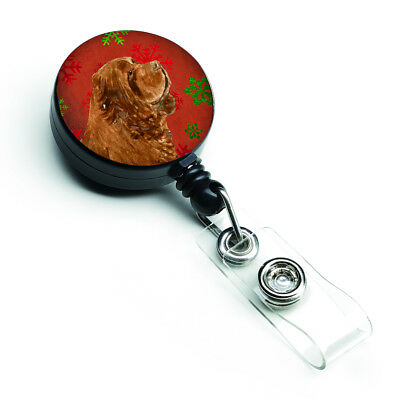 Sussex Spaniel Red Green Snowflake Holiday Christmas Retractable Badge Reel