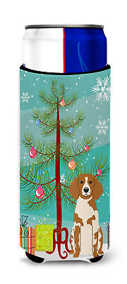 Merry Christmas Tree Brittany Spaniel Michelob Ultra Hugger for slim cans