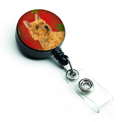 Norwich Terrier Red and Green Snowflakes Holiday Christmas Retractable Badge Ree