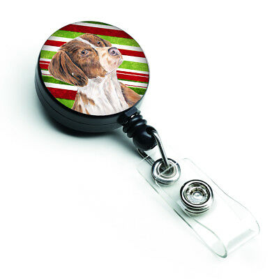 Brittany Candy Cane Holiday Christmas Retractable Badge Reel