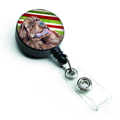 Newfoundland Candy Cane Holiday Christmas Retractable Badge Reel
