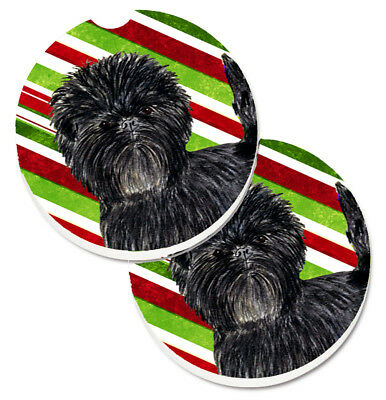 Affenpinscher Candy Cane Holiday Christmas Set of 2 Cup Holder Car Coasters