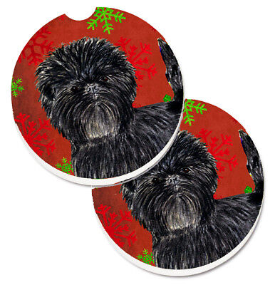 Affenpinscher Red Green Snowflakes Christmas Set of 2 Cup Holder Car Coasters