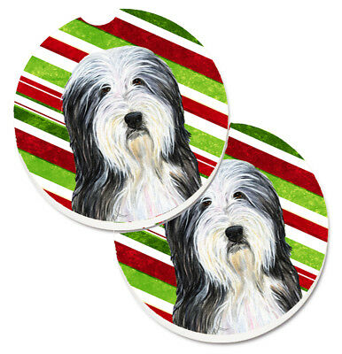 Bearded Collie Candy Cane Holiday Christmas Set of 2 Cup Holder Car Coasters