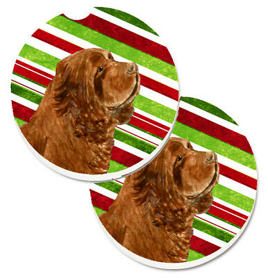 Sussex Spaniel Candy Cane Holiday Christmas Set of 2 Cup Holder Car Coasters