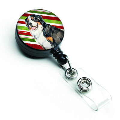 Bernese Mountain Dog Candy Cane Holiday Christmas Retractable Badge Reel