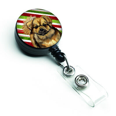 Tibetan Spaniel Candy Cane Holiday Christmas Retractable Badge Reel