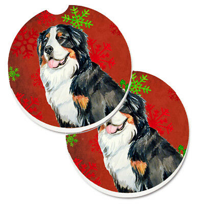 Bernese Mountain Dog Red  Green Snowflakes Holiday Christmas Set of 2 Cup Holder