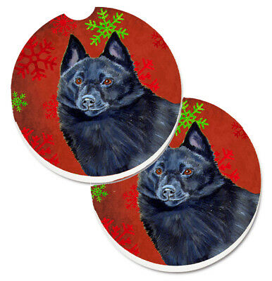 Schipperke Red and Green Snowflakes Holiday Christmas Set of 2 Cup Holder Car Co