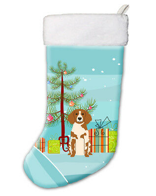 Merry Christmas Tree Brittany Spaniel Christmas Stocking