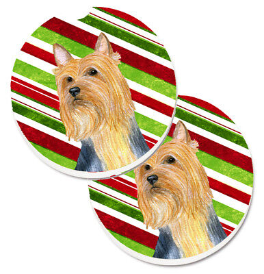 Silky Terrier Candy Cane Holiday Christmas Set of 2 Cup Holder Car Coasters