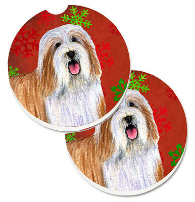 Bearded Collie Red and Green Snowflakes Holiday Christmas Set of 2 Cup Holder Ca