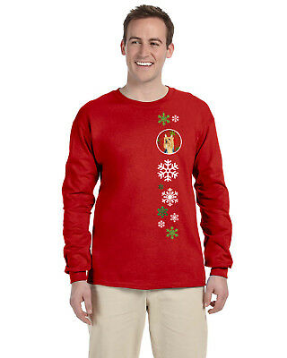 Silky Terrier Red Green Snowflake Holiday Christmas Long Sleeve Red Unisex Tshir