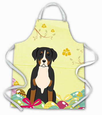 Carolines Treasures  BB6037APRON Easter Eggs Greater Swiss Mountain Dog Apron