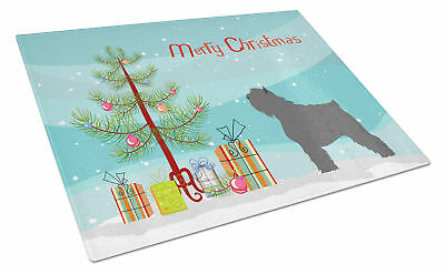 Bouvier des Flandres Christmas Glass Cutting Board Large
