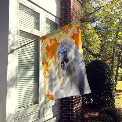Carolines Treasures  BB9927CHF Shih Tzu Fall Flag Canvas House Size