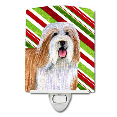 Bearded Collie Candy Cane Holiday Christmas Ceramic Night Light