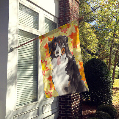 Fall Leaves Bernese Mountain Dog Flag Canvas House Size