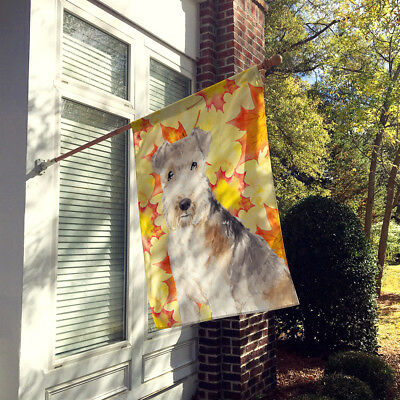Fall Leaves Lakeland Terrier Flag Canvas House Size