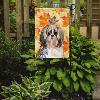 Carolines Treasures  CK1826GF Fall Leaves Shih Tzu Flag Garden Size