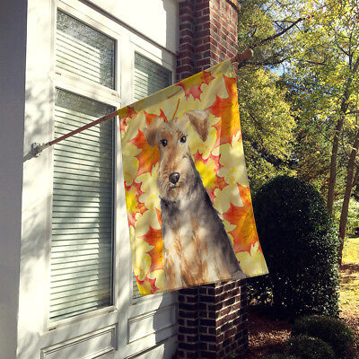Carolines Treasures  CK1821CHF Fall Leaves Welsh Terrier Flag Canvas House Size