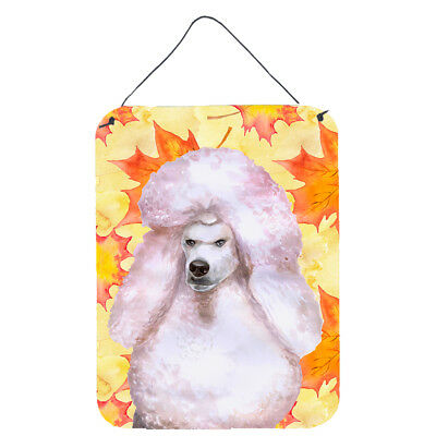 White Standard Poodle Fall Wall Or Door Hanging Prints