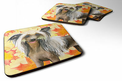 Set of 4 Chinese Crested Fall Foam Coasters Set of 4