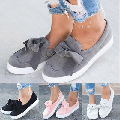 Womens Flat Casual Sneakers Bow Comfy Slip On Trainers Plimsolls Pumps Shoes US